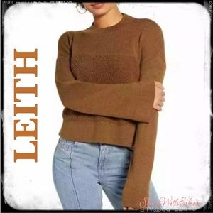 Leith Mock Neck Bell Sleeve Crop Brown Sweater
